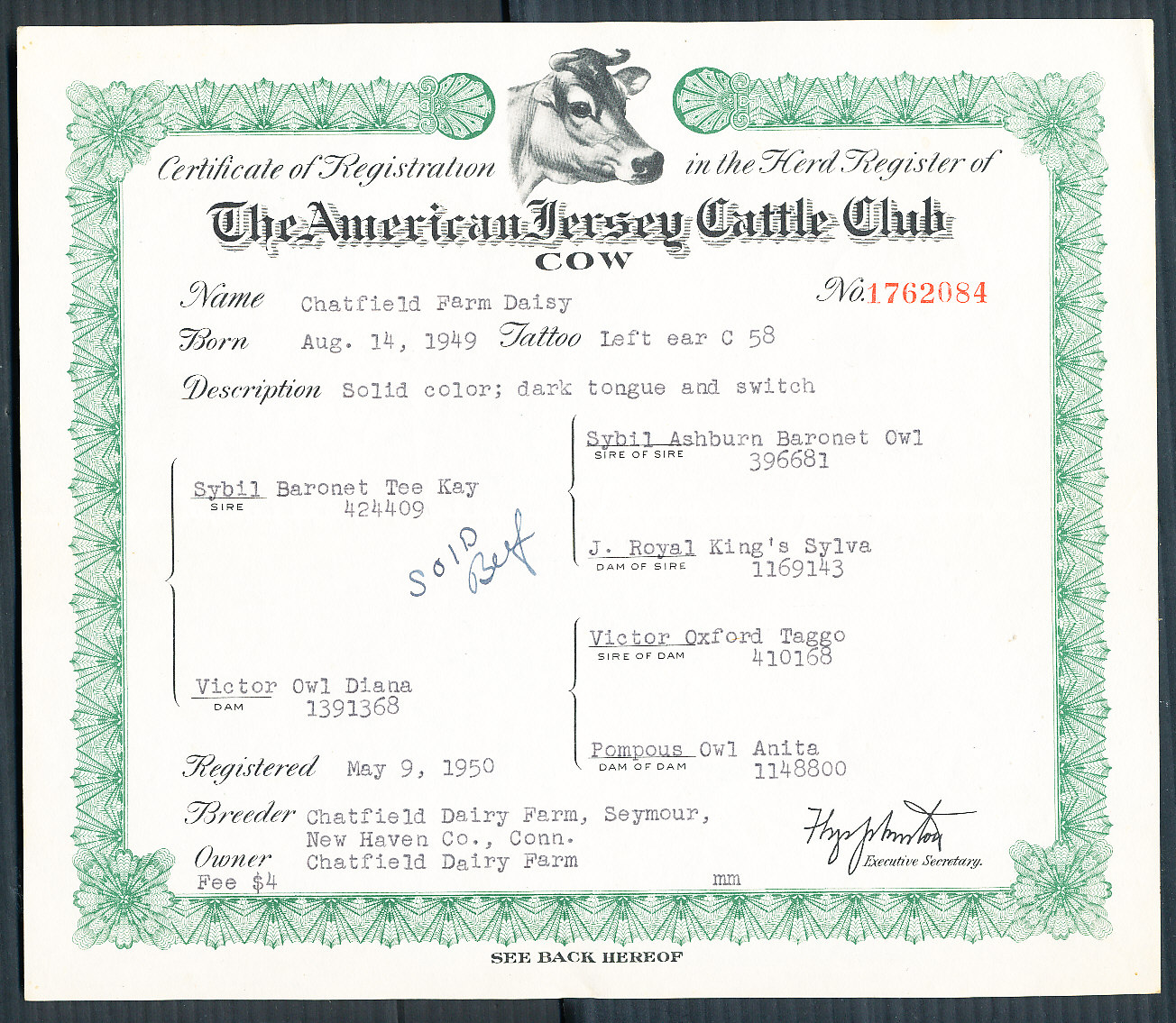 MA auction item 2257569 - USA. American Jersey Cattle Club 1949 ...