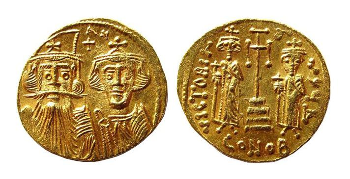 REDUCED Price / Gold Solidus of Constans II (641-668) AD. / Constantinople / Officina Delta