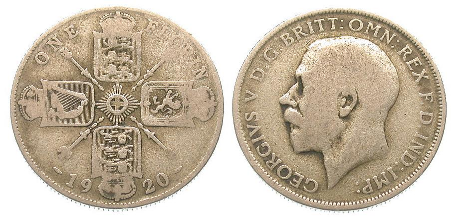 Großbritannien - Great-Britain Georg V. - 1 Florin 1920 Silber - Originalbild