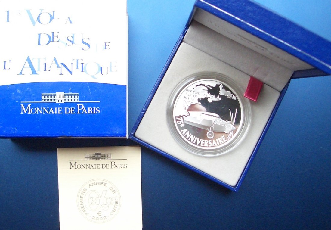 FRANKREICH 1,5€ 2002 CHARLES LINDBERGH SILBER ### Reale Auflage: 10.000 Exemplare ###