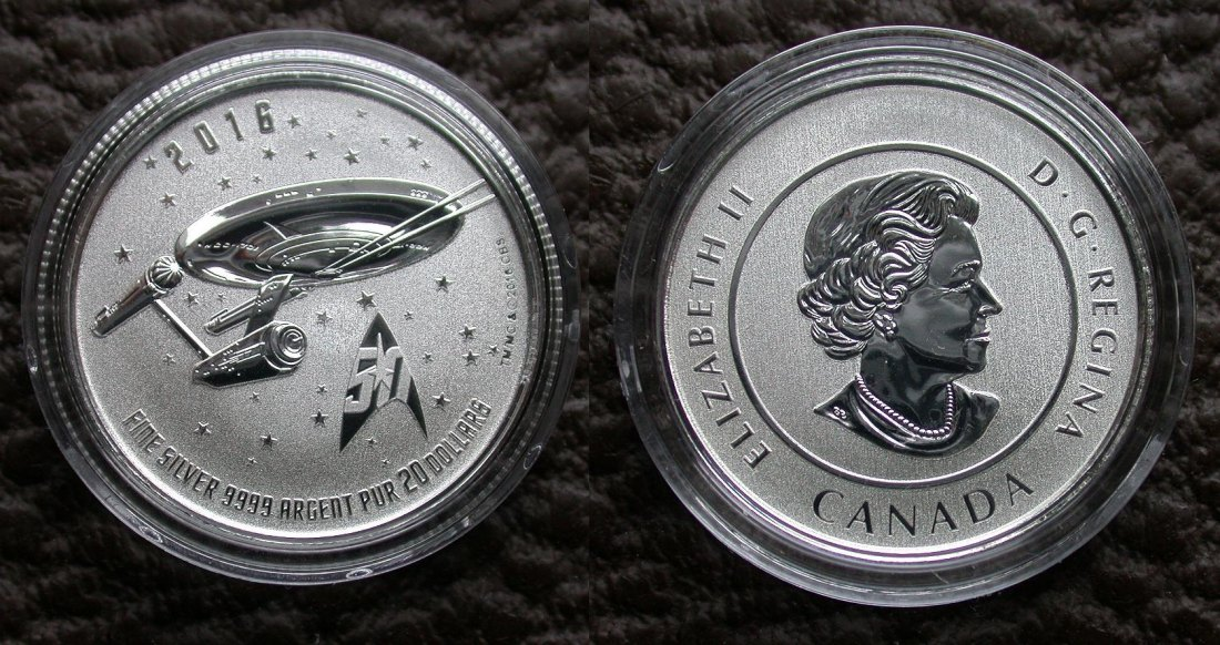 20 $ Dollar 2016 Canada Kanada 50 Years STAR TREK Enterprise Sondermünze im Info-Folder OVP