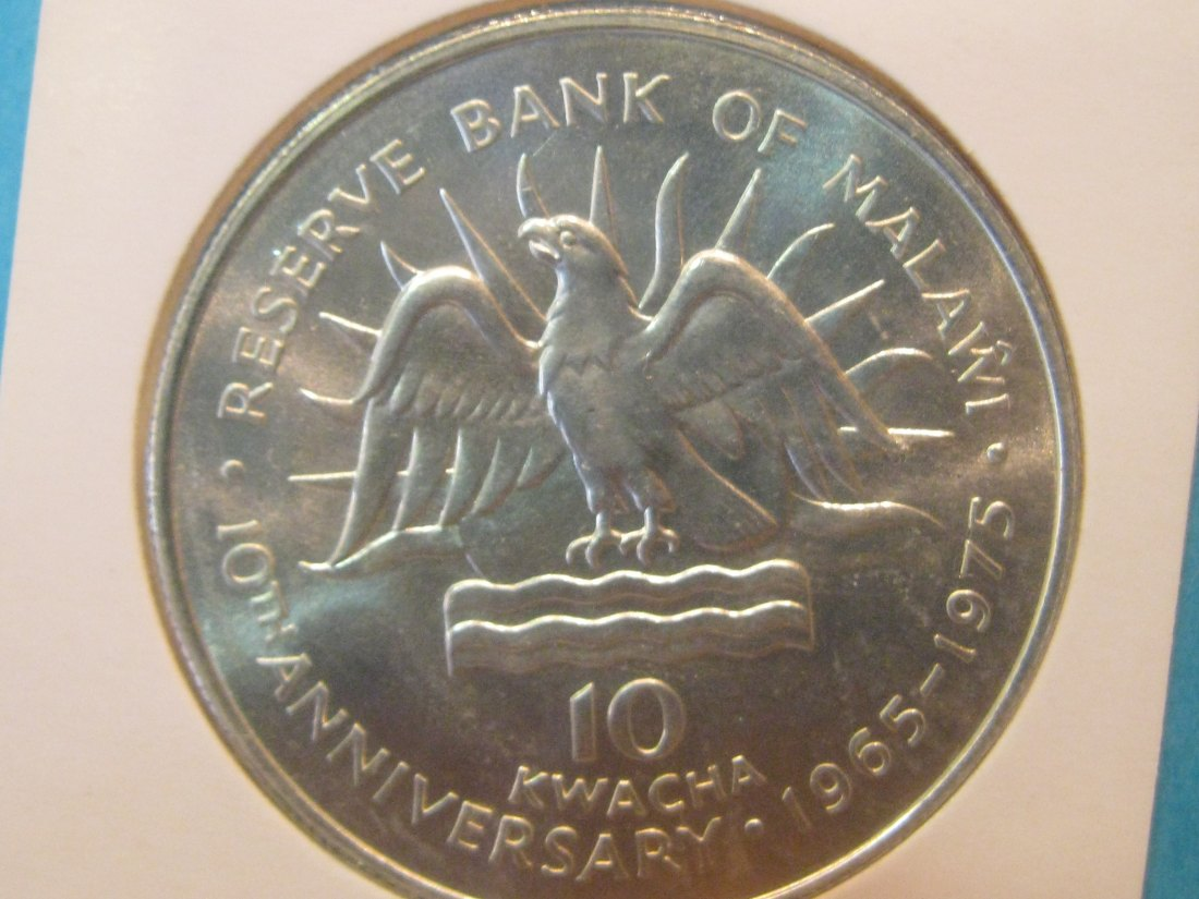 MALAWI 10 KWACHA 1975 10 ANNS RESERVE BANK UNC