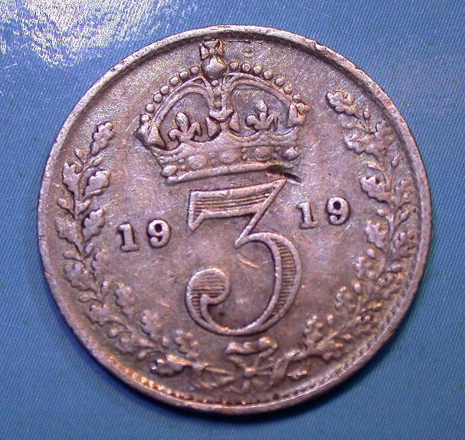 Great Britain 3 Pence 1919 England Georg V. 925 silber