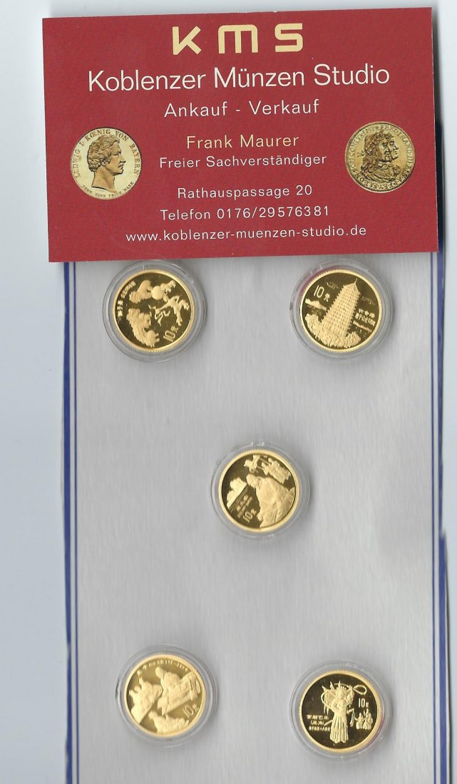 China Gold 1995 Chinesische traditionelle Kultur Set PP 5x 3,11 Gramm KMS KOBLENZ