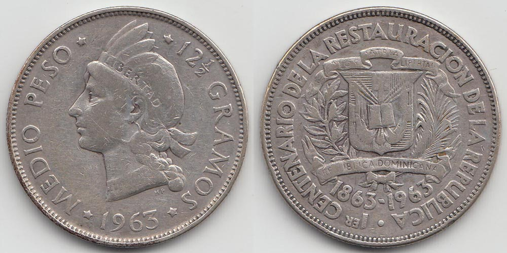 Dominican Republic ½ Peso 1963 Silver