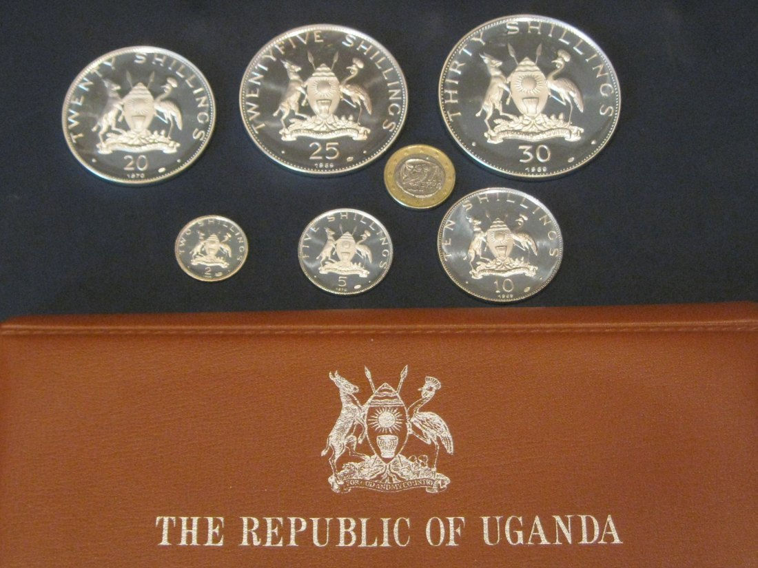 UGANDA 1969 PROOF SERIE FOR POPE PAUL VI VISIT.GRADE-PLEASE SEE PHOTOS.