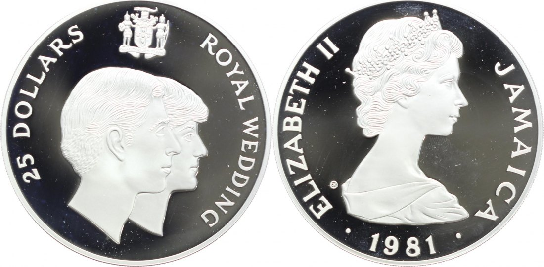 Jamaica: 25 Dollar 1981 Royal Wedding (.925 Silber, Gewicht 136 gr.)