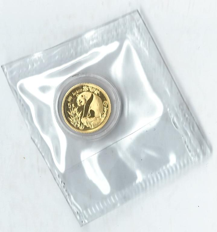 China Gold 1993 5 Yuan  P Proof Top Zustand !!! 1/20 Oz Feingold in Originalfolie KMS KOBLENZ