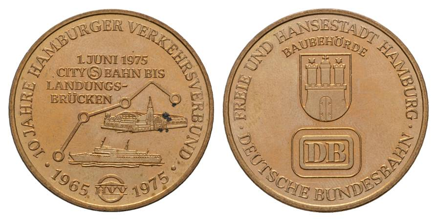 Hamburg DB, Medaille 1975; 13,45 g Ø 34,5 mm