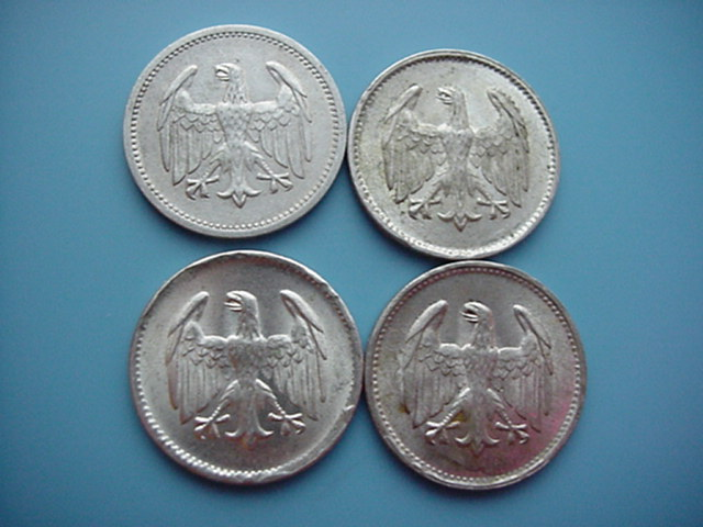 Weimarer Republik 4 x 1 Mark 1924/1925 Silber