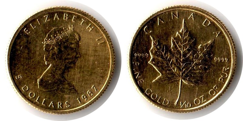 Kanada MM-Frankfurt Feingewicht: 3,11g Gold 5 Dollar (Maple Leaf) 1987 ss/vz