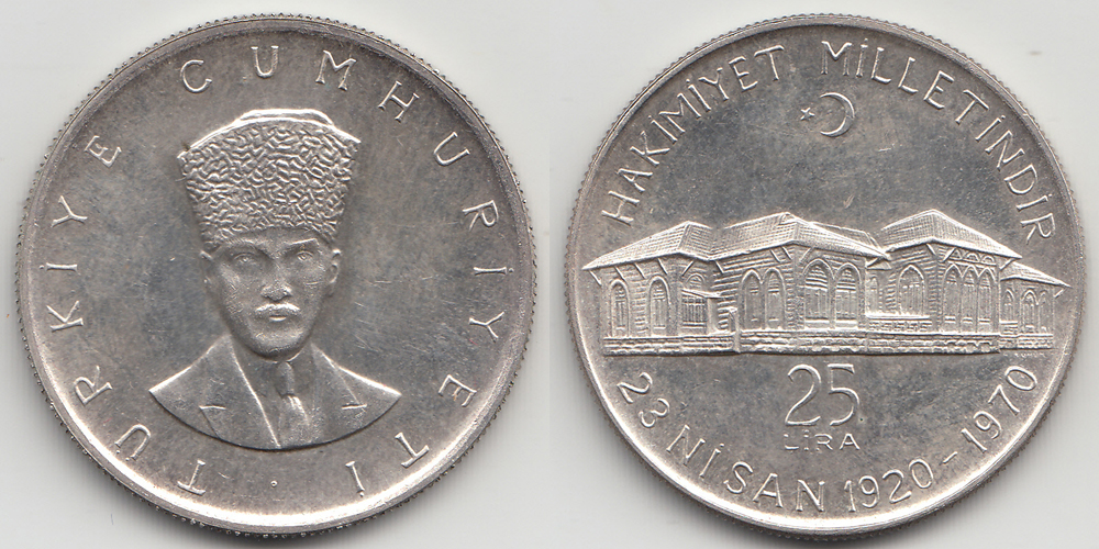 Turkey 25 Lira ND (1970) .830 Silver 14,60 gram.