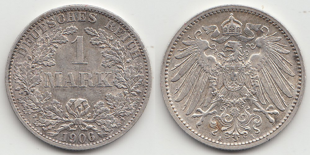 Germany - Empire 1 Mark 1906 A .900 Silver 5,55 gram