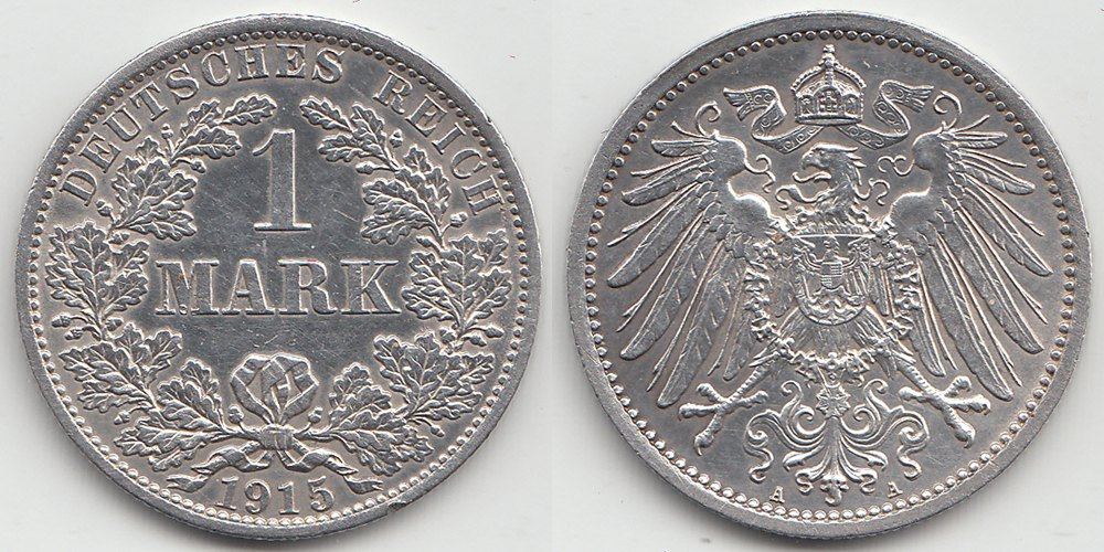 Germany - Empire 1 Mark 1915 A .900 Silver 5,55 gram