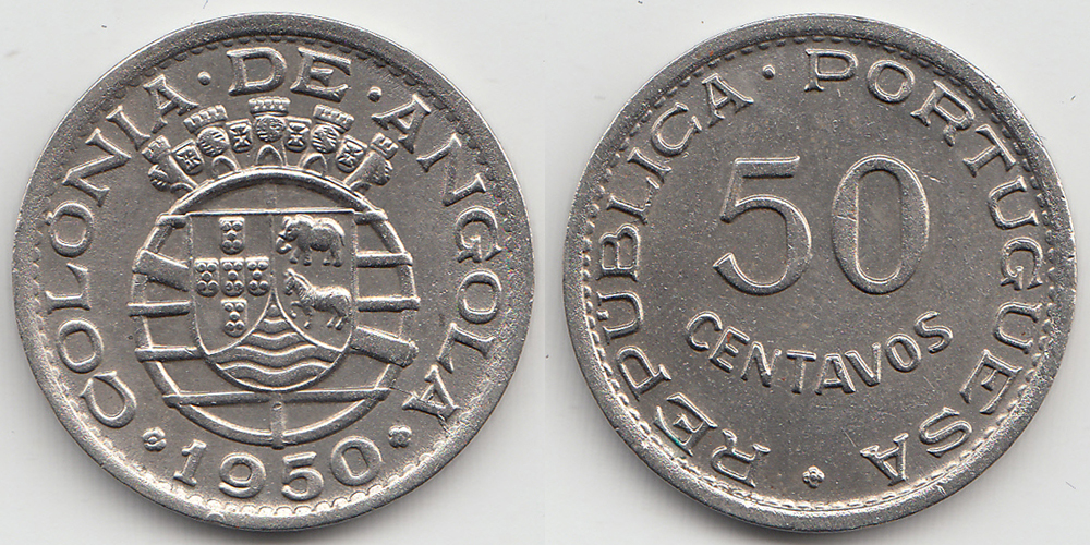 Angola 50 Centavos 1950 Nickel - Bronze