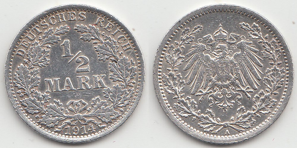Germany - Empire ½ Mark 1914 A .900 Silver 2,80 gram