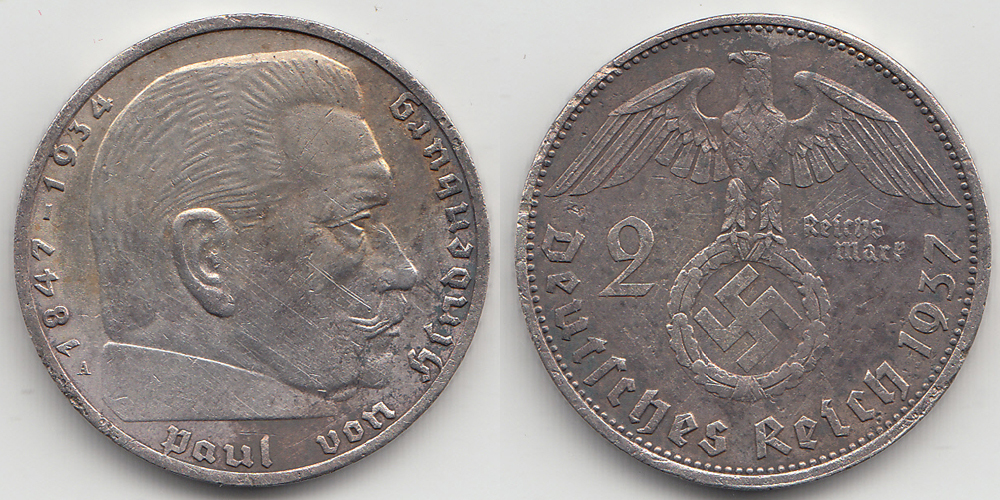 Germany - Empire 2 Mark 1937 A .625 Silver 8 gram