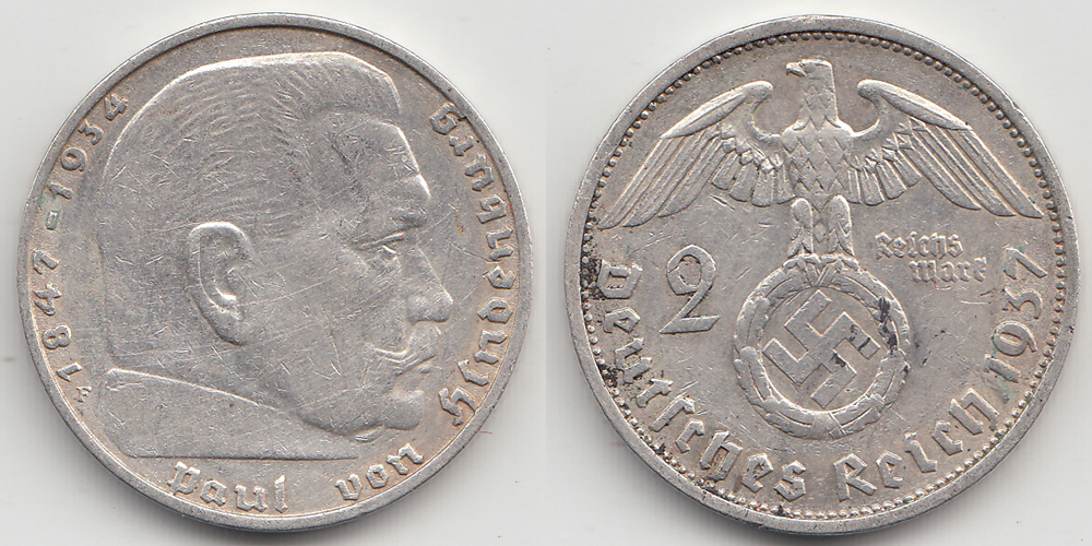Germany - Empire 2 Mark 1937 F .625 Silver 8 gram