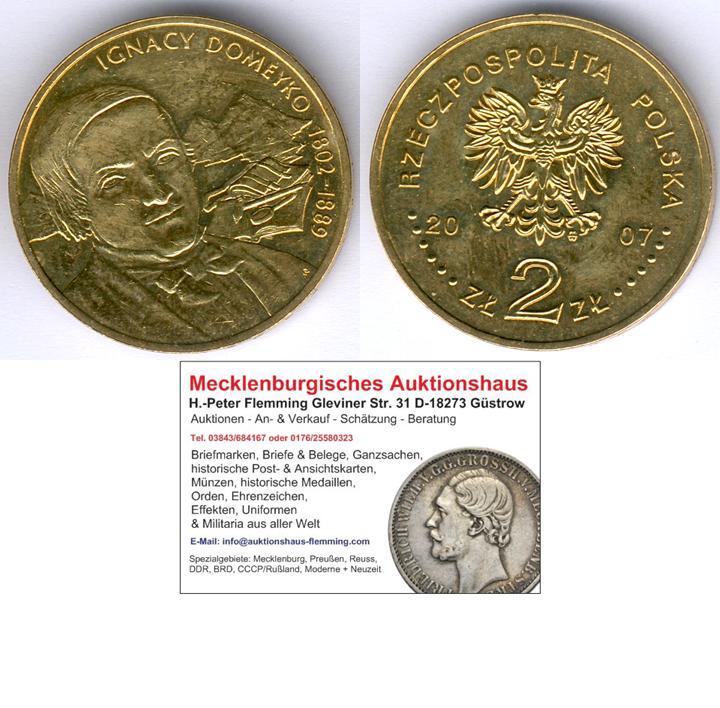 Muenzauktioncom 2845338 Polen 2 Zloty 2007domeyko Fischer Ob