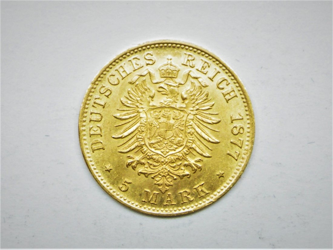 Kaiserreich: Hamburg, 5 Mark 1877 J, TOP-Münze in vz+, SELTEN, 1,99 Gramm 900er Gold!