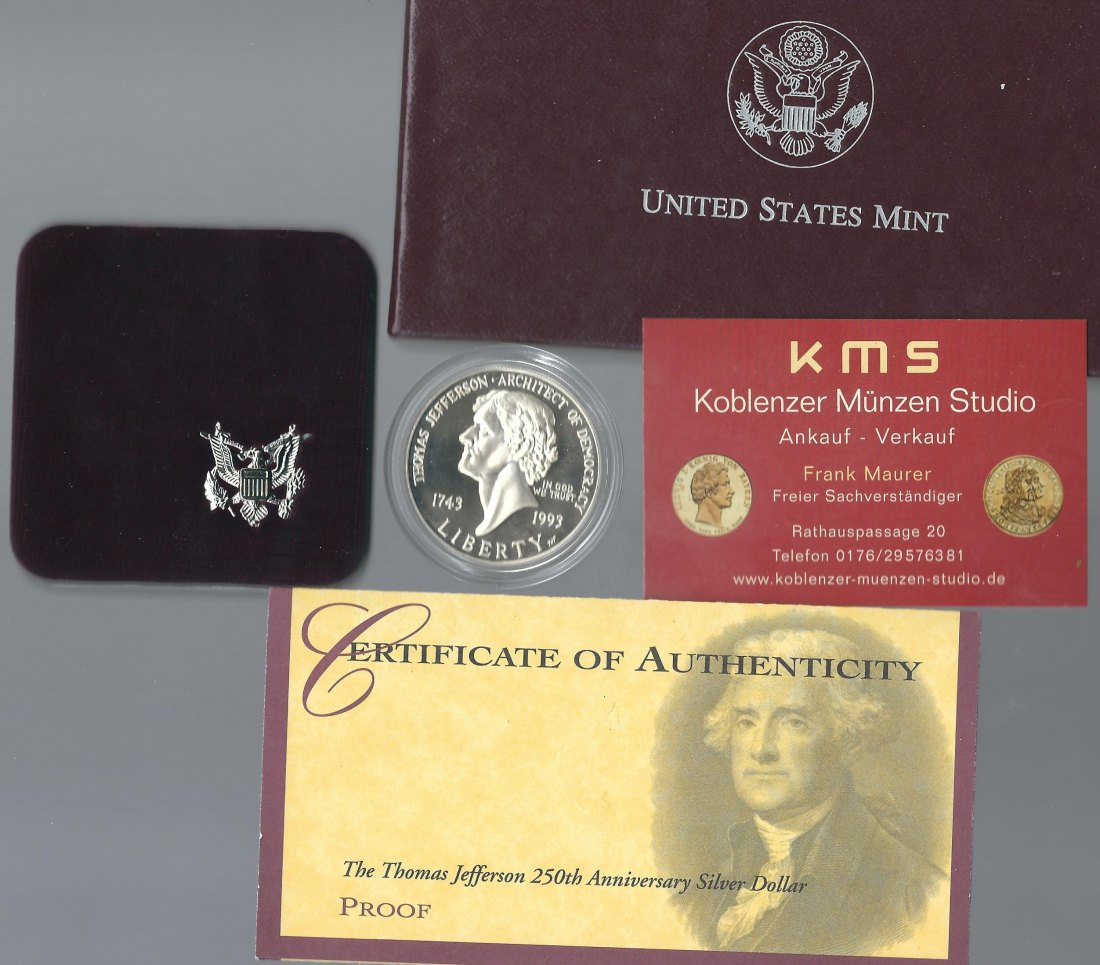 USA 1 Dollar  1993 Jefferson 26,73 Gramm 900/1000 Silber  PP  KMS Koblenz