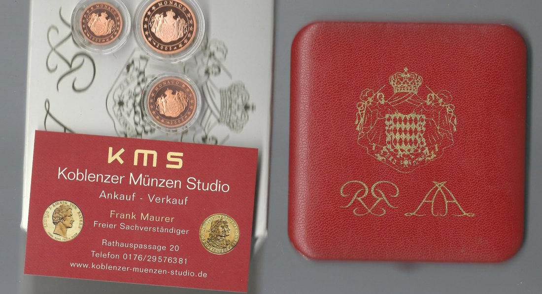 Monaco 1+2+5 cent 2005 Proof  PP in OVP KMS Koblenz