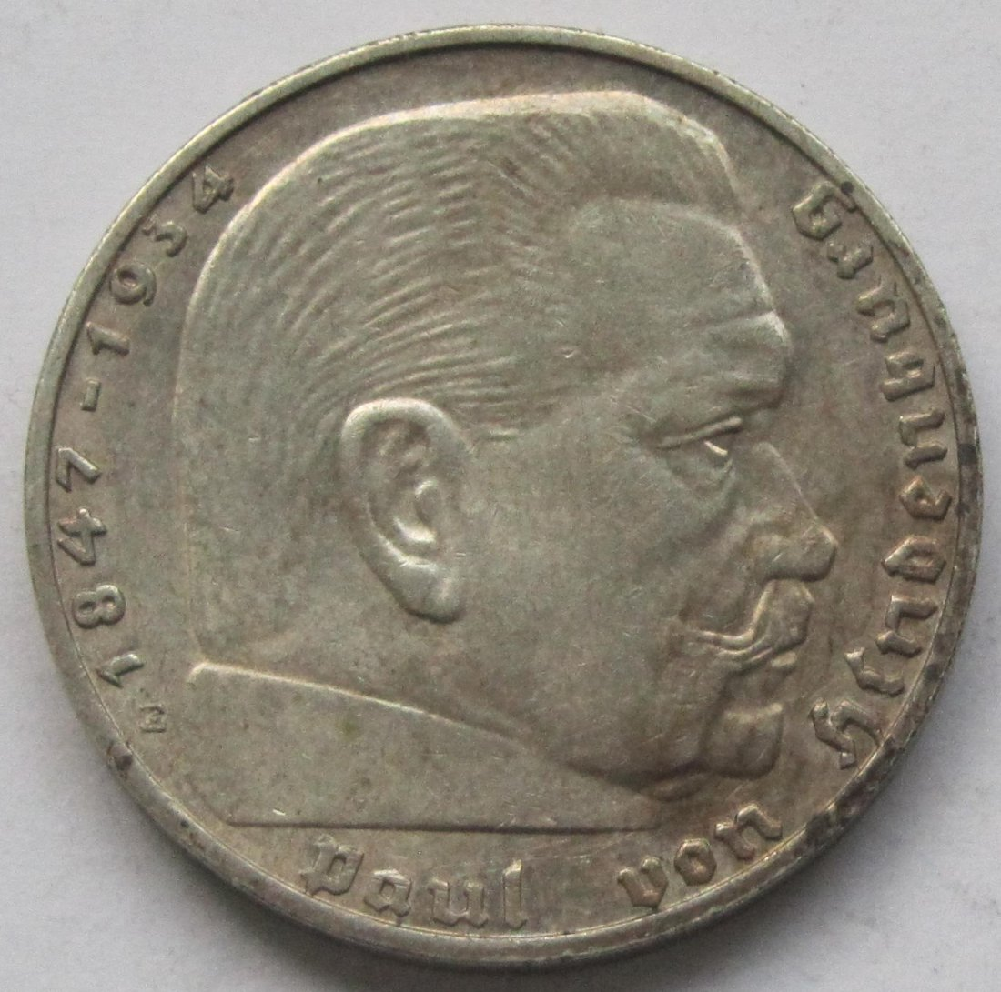 Deutsches Reich: 2 Mark Hindenburg 1939 E