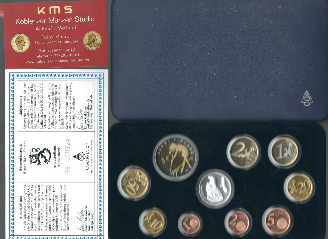 Finnland Proof KMS 2005 incl 5 Euro + Silber Jeton Proof  PP in OVP KMS Koblenz