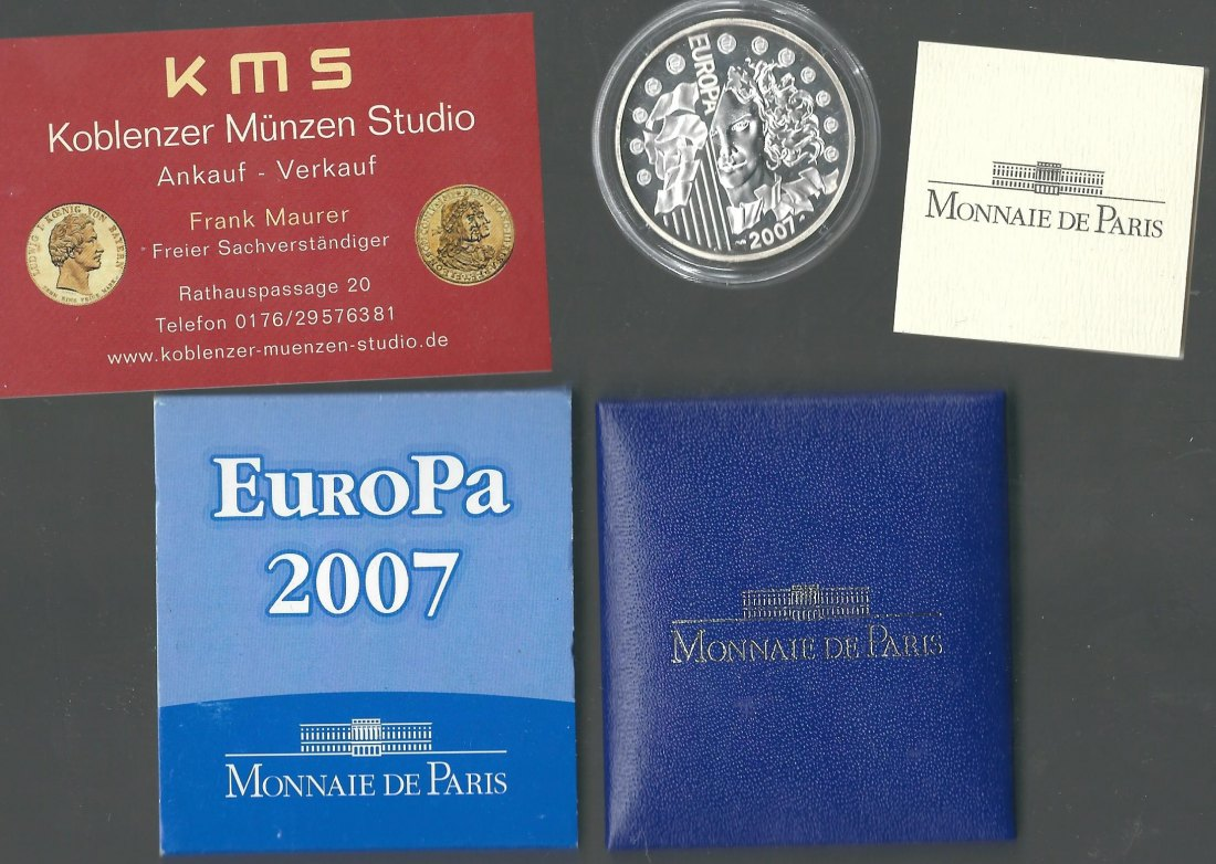 Frankreich 1,5 Euro Airbus A 380 2007 Proof  PP in OVP Silber KMS Koblenz