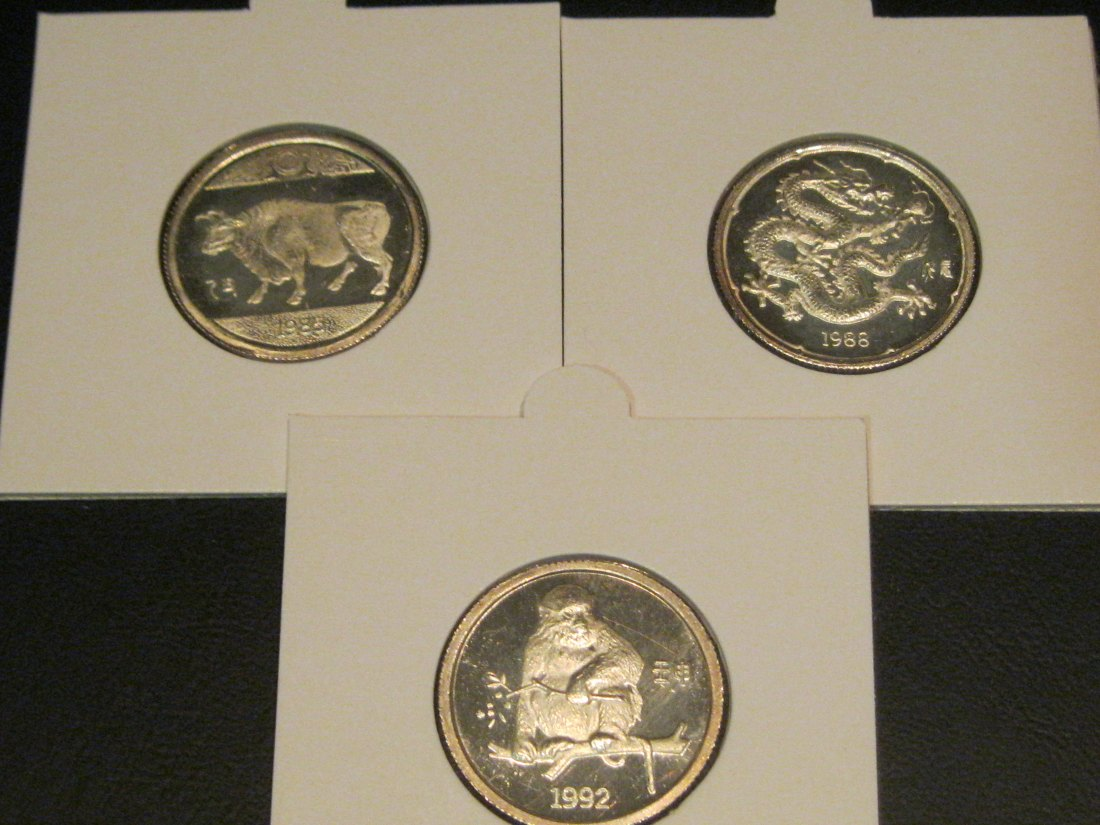CHINA 3X CHINESE ZODIAC MEDALS 1985/88/92.GRADE-PLEASE SEE PHOTOS