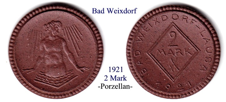 Porzellan, 1921 Bad-Weixdorf, 2 Mark