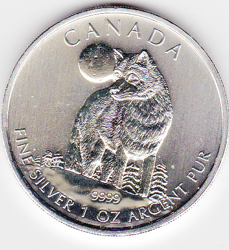 1 - kirofa -Kanada 5$ - 2011 - Wildlife of Canada - WOLF - 1 oz SILBER 99.99% - NEW . BU. IN FOLIE.