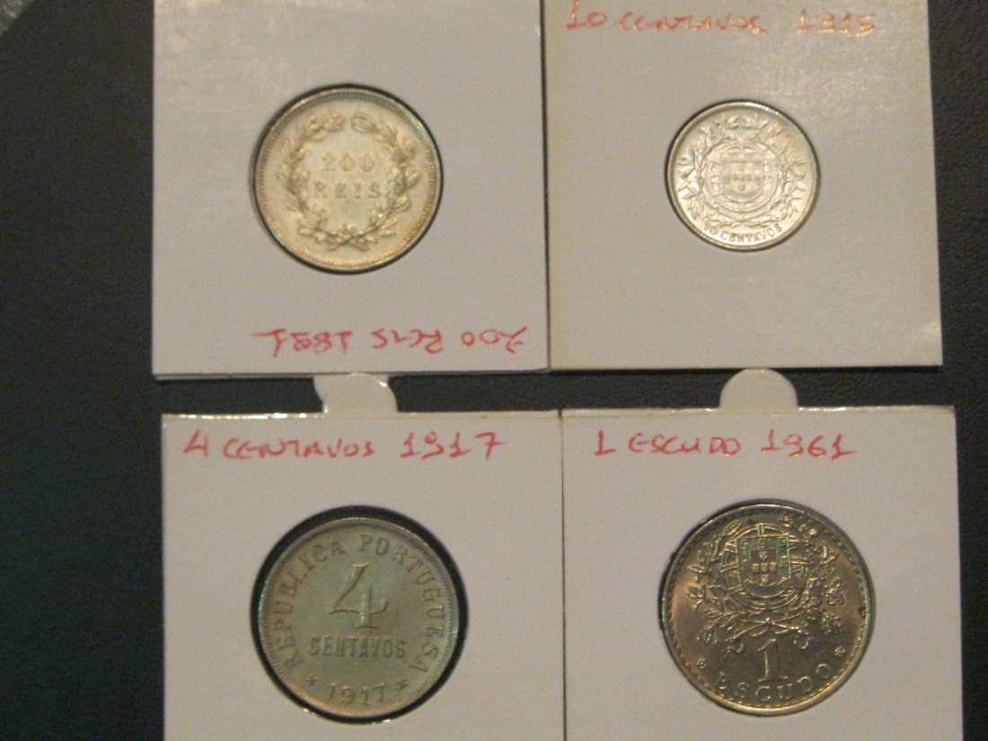 PORTUGAL LOT-200REIS 1891,10CEN/VOS 1915,4CENT/VOS 1917,1ESCUDO 1961.GRADE-PLEASE SEE PHOTOS