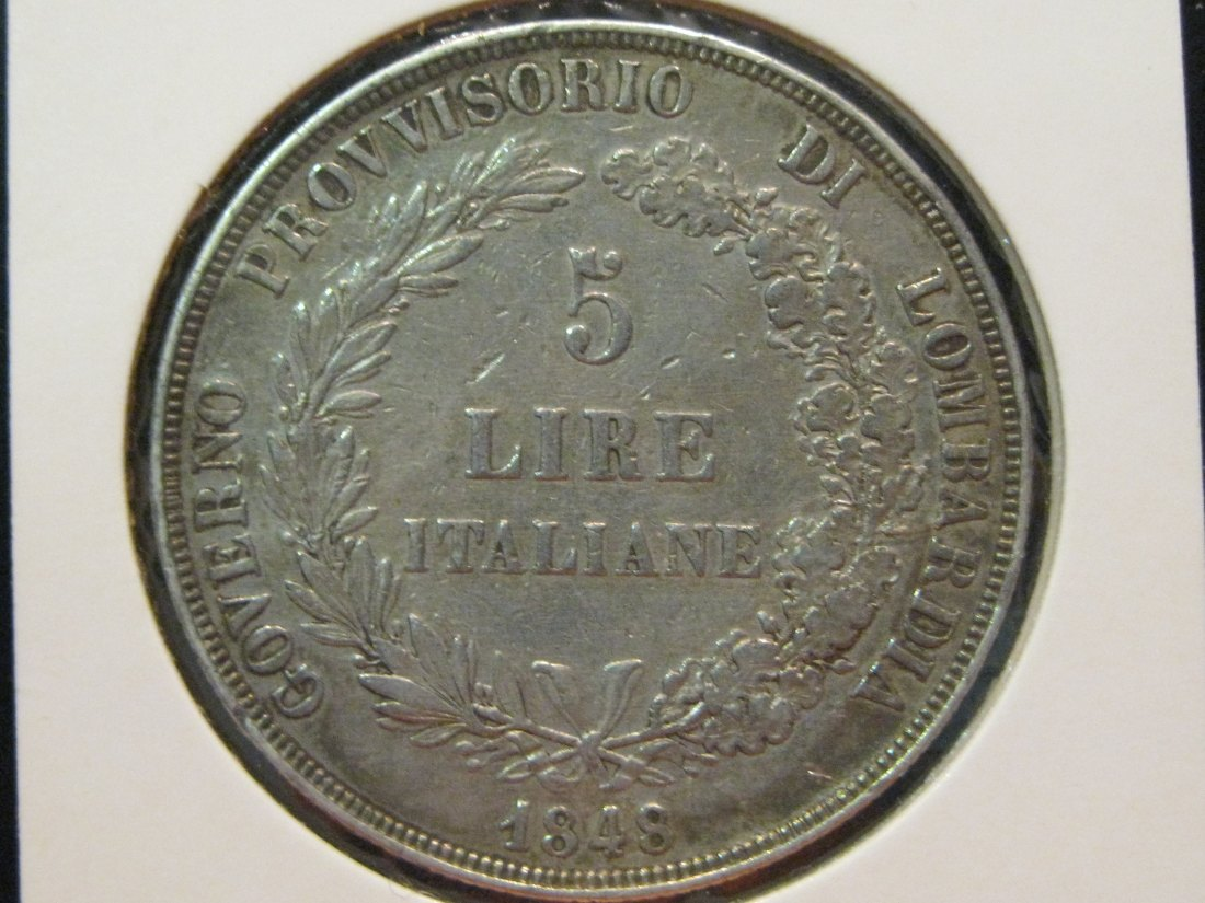 ITALY 5 LIRE 1848 LOMBARDY.GRADE-PLEASE SEE PHOTOS