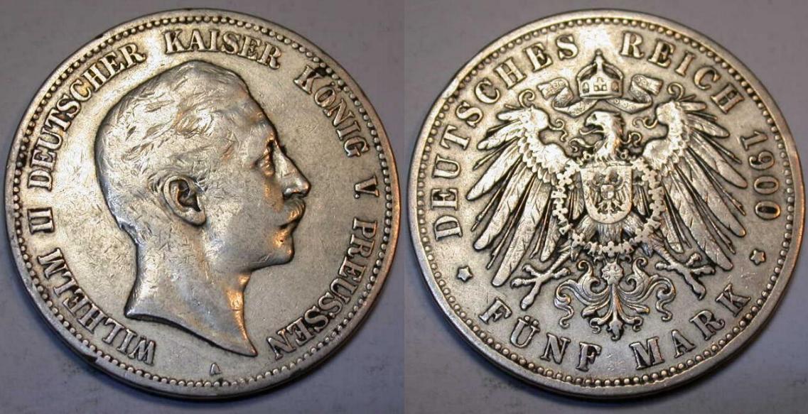 Muenzauktioncom 2877843 1900 Deutsches Reich 5 Mark Kaiser
