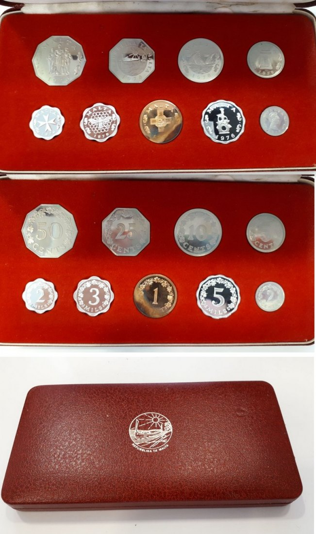 Republik of Malta Proof Set 1976,  2 Mils - 50 Cents  FM-Frankfurt  vz/ pp
