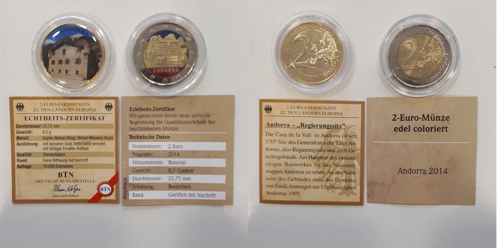 Muenzauktioncom 2885949 2x 2 Euro Andorra Gedenkmünzen Fm