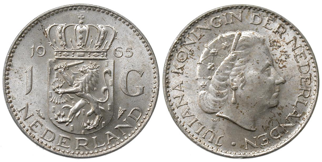 1 Gulden Niederlande Holland Juliane 1965 - nahe unc. voller Prägeglanz - intern 20c