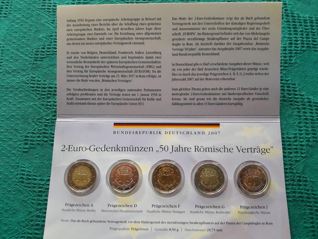 Muenzauktioncom 2905140 5 X 2 Euro Cc Römische Verträge Adfgj 2