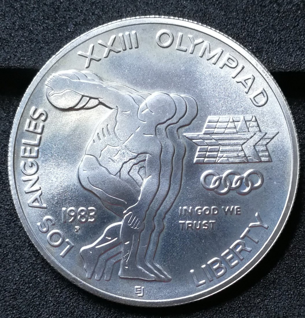 USA 1$ one Dollar 1983 P Philadelphia XXIII summer Olympic Games / Disc Thrower Silber Münze Coin