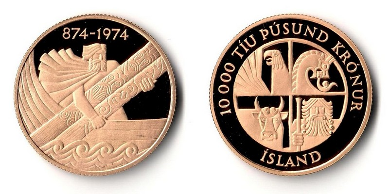 Island  10000 Kronur  1974 MM-Frankfurt  Feingold: 13,95g 1100th Anniversray of the Settlement of Iceland