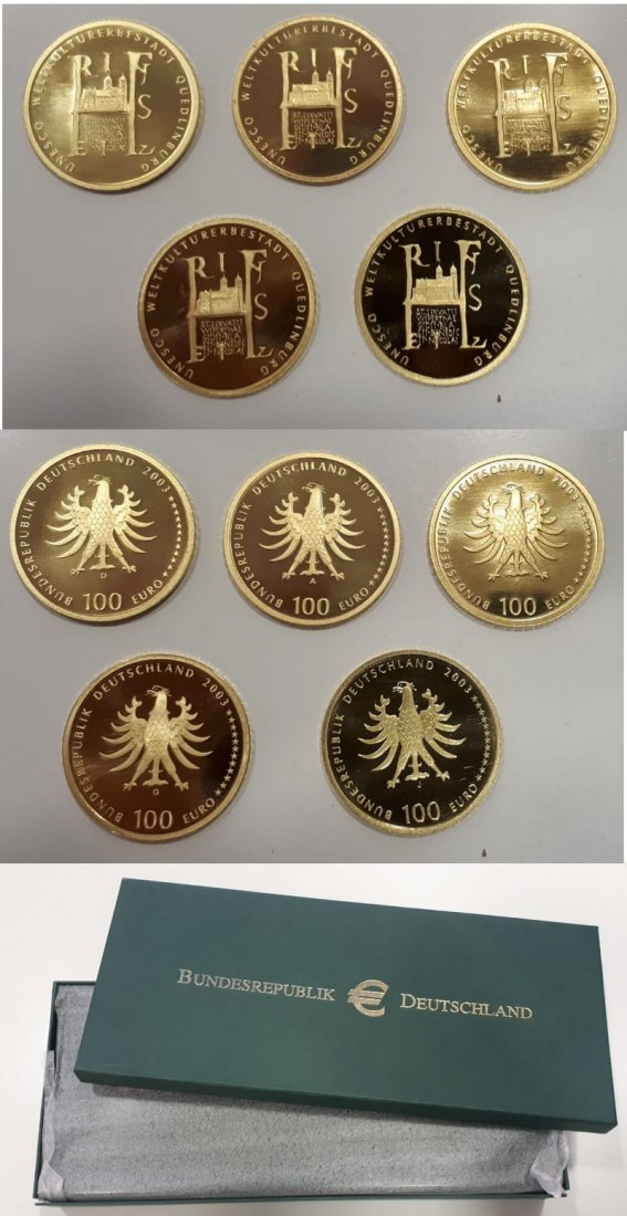 BRD  100 Euro  2003 ADFGJ MM-Frankfurt  Feingold: 5x 15,5g UNESCO World Heritage Sites -Quedlinburg