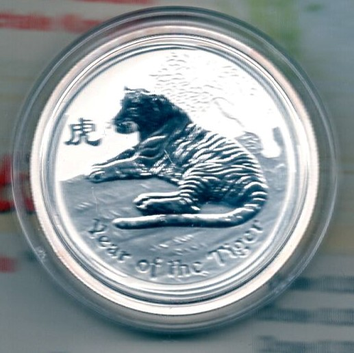 Australia 50 Cents 2010 Silber 1/2 Oz Year of the Tiger  +++K004+++