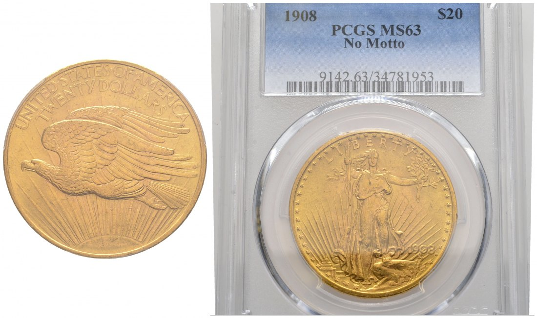 PEUS 1529 USA 30,1 g Feingold. In US Plastic-Holder PCGS No. 9142.63/34781953 20 Dollars GOLD 1908 PCGS MS63 / Sehr schön