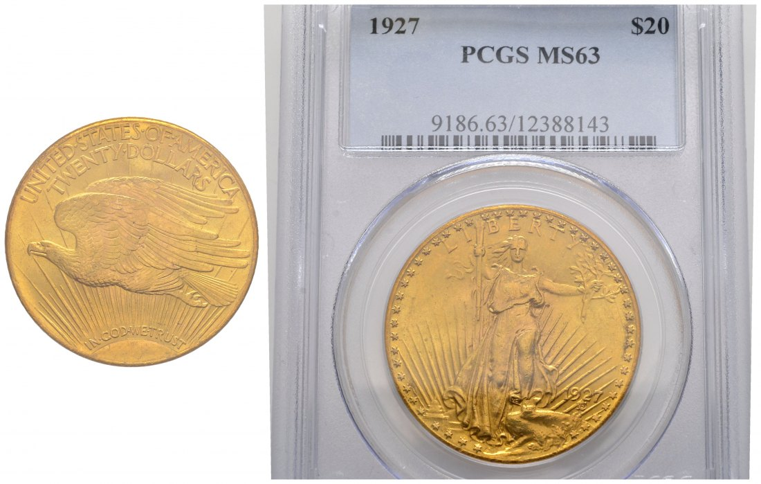 PEUS 1530 USA 30,1 g Feingold. In US Plastic-Holder PCGS No. 9186.63/12388143 20 Dollars GOLD 1927 PCGS MS63 / Sehr schön