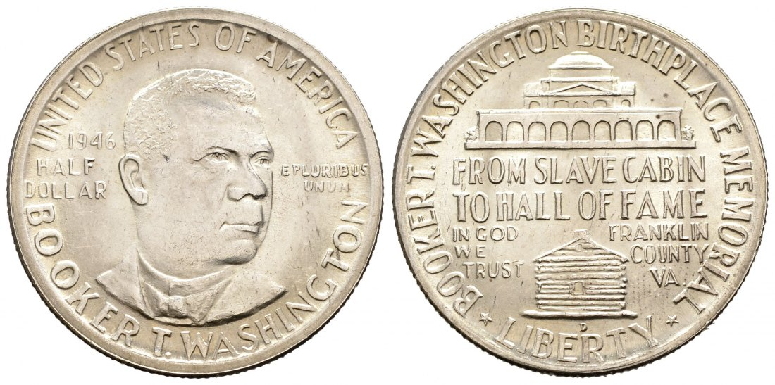 PEUS 1541 USA 11,25 g Feinsilber. BOOKER T.WASHINGTON AND WASHINGTON CARVER Half Dollar SILBER 1946 D Vorzüglich +