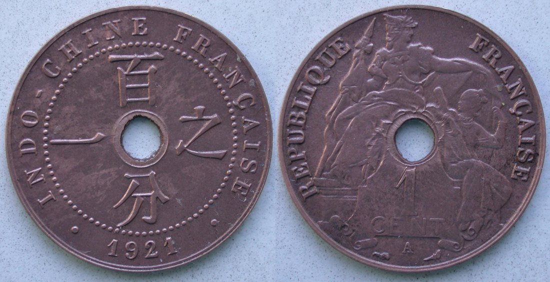 Vietnam Frankreich INDO CHINA, 1 Cent, 1921, A Paris, KM 12.1, Originalbild