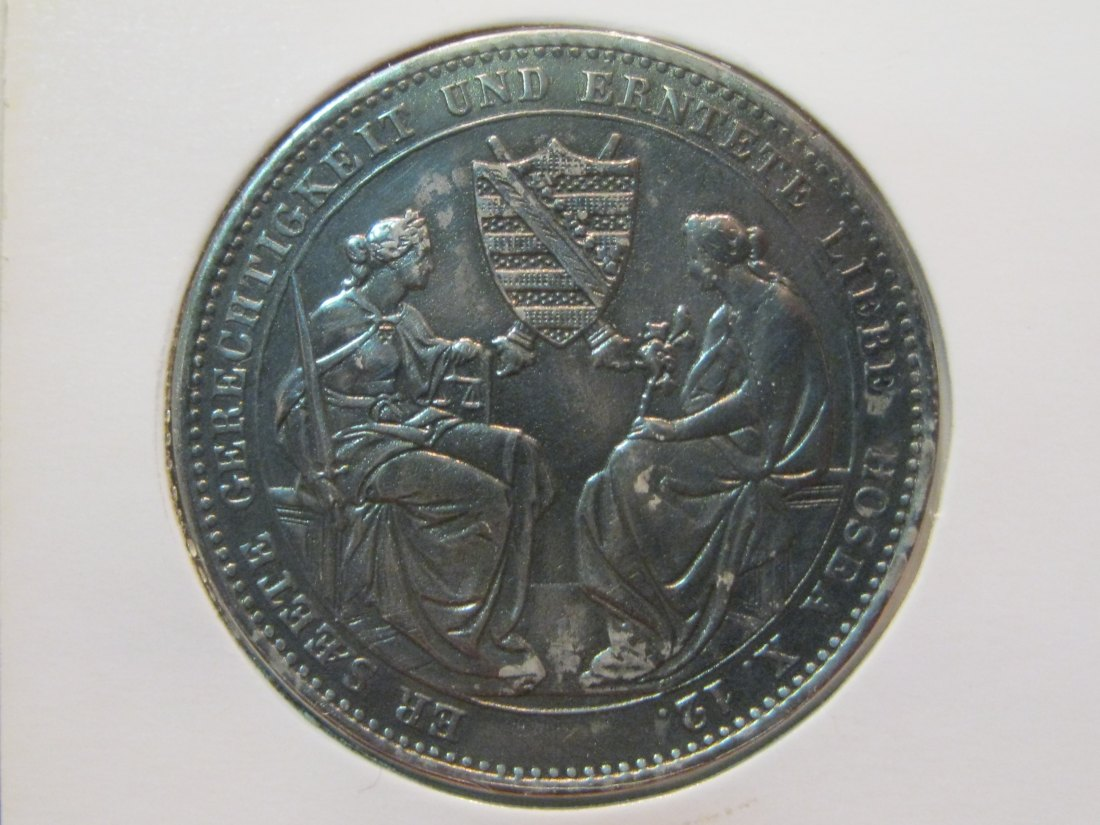 GERMANY 1 THALER 1854 SAXONY.GRADE-PLEASE SEE PHOTOS AND READ BELOW.