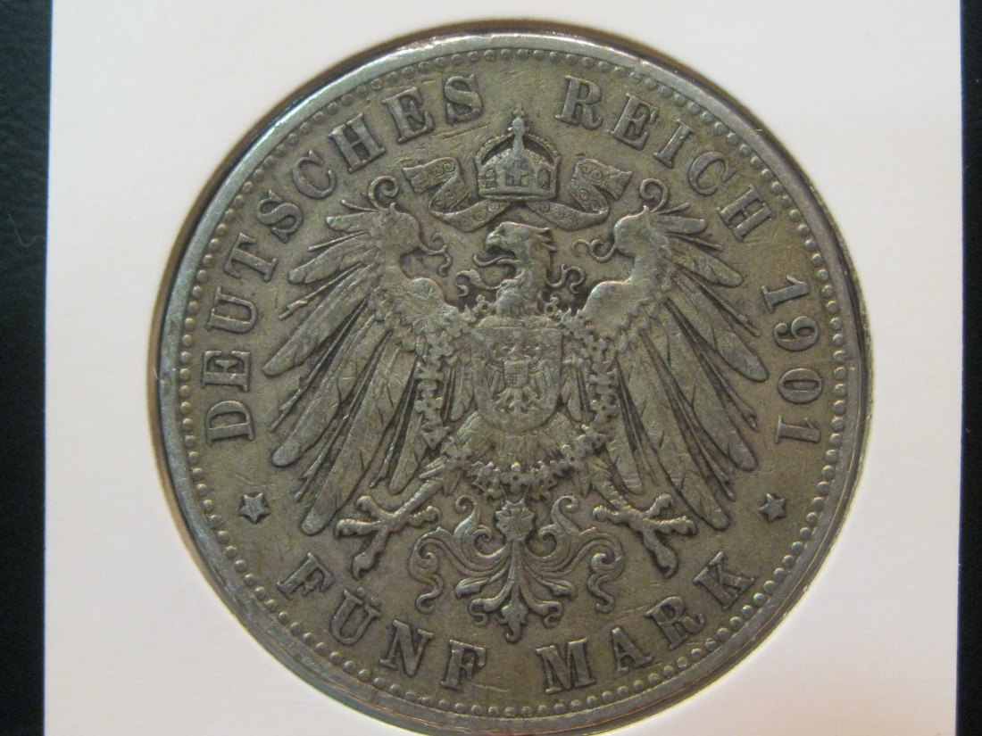 GERMANY 5 MARK 1901 HAMBURG.GRADE-PLEASE SEE PHOTOS.