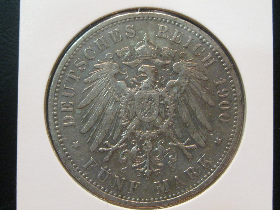GERMANY 5 MARK 1900 PRUSSIA.GRADE-PLEASE SEE PHOTOS.